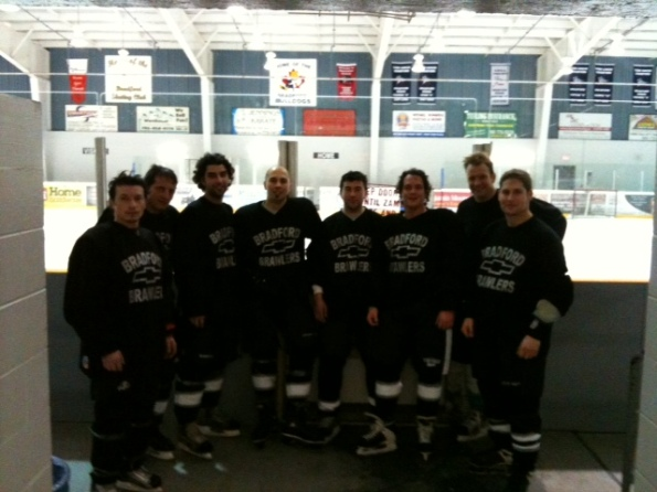 Photo of Johnny MacFadden with Hockey Team in Bradford Ontario